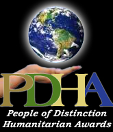 People of Distinction Humanitarian Awards Logo; an open hand with the earth hovering.