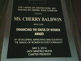CHERRY BALDWIN PLAQUE - 280 SHARP - PIC