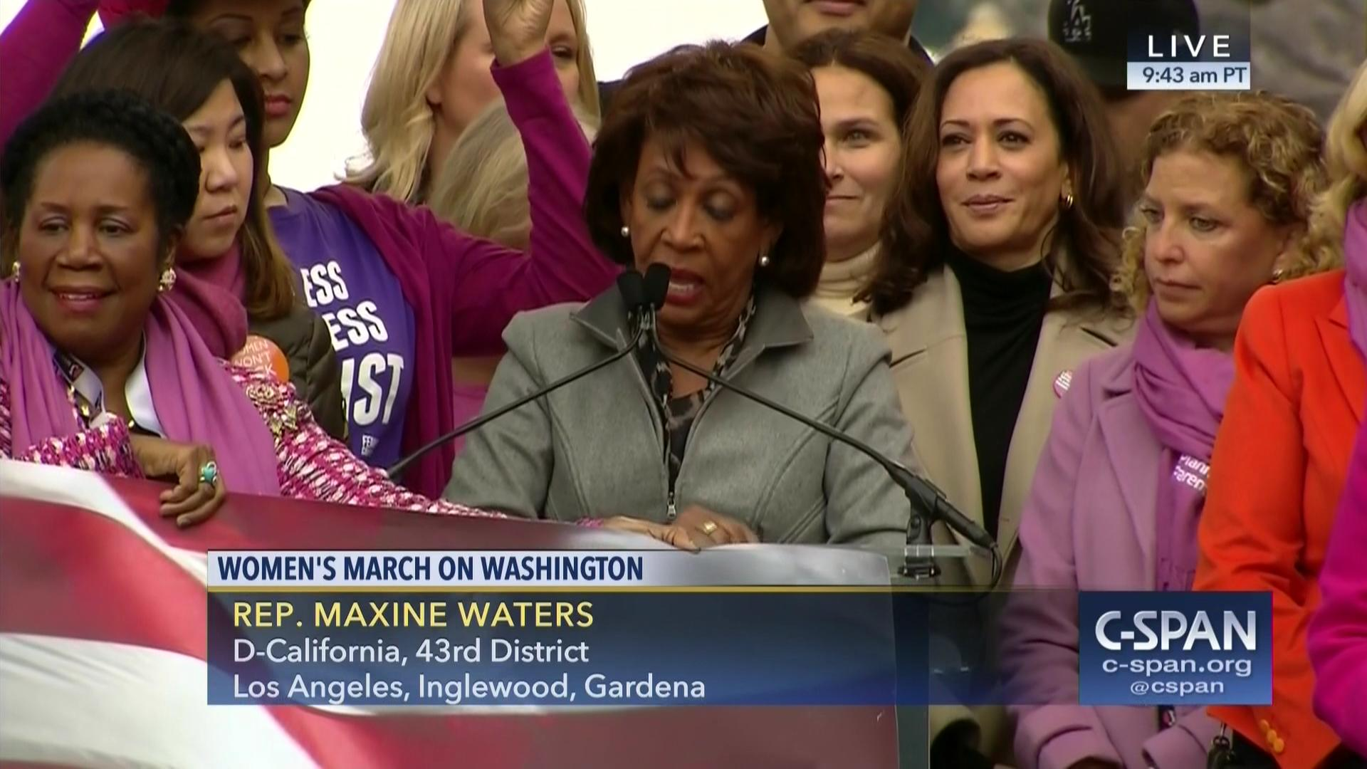 US Congresswoman MAXINE WATERS Supporting WOMENS MARCHES!